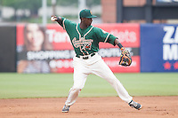 Greensboro Grasshoppers shortstop Javier Lopez (16) makes a throw to first base against the Hagerstown Suns at NewBridge Bank Park on May 20, 2014 in Greensboro, North Carolina.  The Grasshoppers defeated the Suns 5-4. (Brian Westerholt/Four Seam Images)