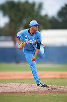 SCF Manatees starting pitcher Brendon Little (15) follows through on a pitch during a game against the College of Central Florida Patriots on February 8, 2017 at Robert C. Wynn Field in Bradenton, Florida.  SCF defeated Central Florida 6-5 in eleven innings.  (Mike Janes/Four Seam Images)
