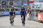 Italian National Champion Elia Viviani (ITA) and Zdenek Stybar (CZE) Deceuninck-Quick Step arrive at sign on before the 2019 Gent-Wevelgem in Flanders Fields running 252km from Deinze to Wevelgem, Belgium. 31st March 2019.<br /> Picture: Eoin Clarke | Cyclefile<br /> <br /> All photos usage must carry mandatory copyright credit (© Cyclefile | Eoin Clarke)