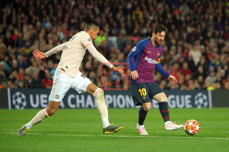 UEFA Champions League 2018/2019.<br /> Quarter-finals 2nd leg.<br /> FC Barcelona vs Manchester United: 3-0.<br /> Chris Smalling vs Lionel Messi.