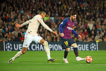 UEFA Champions League 2018/2019.<br /> Quarter-finals 2nd leg.<br /> FC Barcelona vs Manchester United: 3-0.<br /> Chris Smalling vs Lionel Messi.