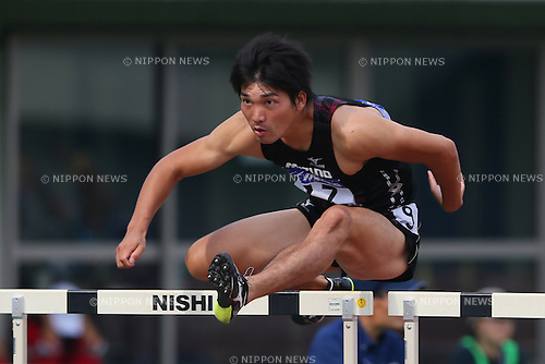 Masayuki Iida, <br /> SEPTEMBER 22, 2013 - Athletics : <br /> The 61st All Japan Industrial Athletics Championship <br /> Men's 110mH <br /> at Kumagaya Sports Culture Park Athletics Stadium, Saitama, Japan. <br /> (Photo by YUTAKA/AFLO SPORT) [1040]