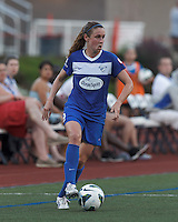 Boston Breakers midfielder Heather O'Reilly (9) looks to pass. In a National Women's Soccer League (NWSL) match, Boston Breakers (blue) defeated Sky Blue FC (white), 3-2, at Dilboy Stadium on June 30, 2013.
