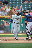 Raffy Lopez (22) of the El Paso Chihuahuas bats against the Salt Lake Bees at Smith's Ballpark on July 5, 2018 in Salt Lake City, Utah. El Paso defeated Salt Lake 3-2. (Stephen Smith/Four Seam Images)