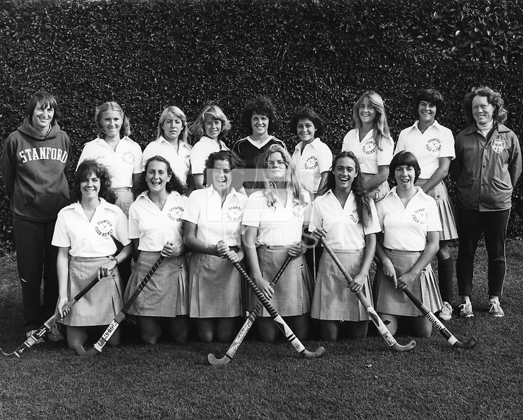 1980 Stanford Field Hockey Team, Front Row, L-R: Unknown, Andrea Welch, Lynn Keyser, Kathy Nicholson, Unknown, Patsy Huntington. Back row: Head Coach Barbara Longstreth, Kelly Westerwick, Becky Howell, Unknown, Franchesca Freccero, Jeanine Valadez, Claudia Gold, Unknown, Asst. Coach Janet Luce.
