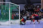 Patrick Harris (Nr.17,Mannheimer HC) erzielt das 3:3 beim Spiel der Hockey Bundesliga Herren, TSV Mannheim - Mannheimer HC.<br /> <br /> Foto © PIX-Sportfotos *** Foto ist honorarpflichtig! *** Auf Anfrage in hoeherer Qualitaet/Aufloesung. Belegexemplar erbeten. Veroeffentlichung ausschliesslich fuer journalistisch-publizistische Zwecke. For editorial use only.