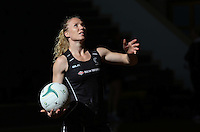 24.10.2015 Silver Ferns Laura Langman in action during the Silver Ferns training head of their netball test match against the Australian Diamonds in Melbourne. Mandatory Photo Credit ©Michael Bradley.