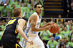 03 December 2014: North Carolina's Marcus Paige (5) and Iowa's Mike Gesell (10). The University of North Carolina Tar Heels played the University of Iowa Hawkeyes in an NCAA Division I Men's basketball game at the Dean E. Smith Center in Chapel Hill, North Carolina. Iowa won the game 60-55.