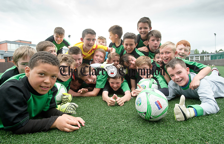 A group of enthusiastic young soccer stars at the FAI Summer Soccer Camp in Shannon Town FC. Photograph by John Kelly.
