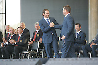Sergio Garcia and his foresome partner Lee Westwood being introduced at the opening ceremony of the 37th Ryder Cup at Valhalla Golf Club, Louisville, Kentucky, USA - 18th September 2008 (Photo by Manus O'Reilly/GOLFFILE)