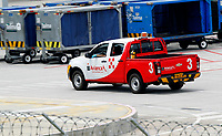 RIONEGRO, COLOMBIA - MAY 12: A car of the Avianca airline on the runway of the José María Córdoba International Airport on May 12, 2020 in Rionegro. Avianca filed for bankruptcy in the United States on May 11, 2020 to reorganize its debt due to the impact of the coronavirus pandemic. (Photo by Fredy Builes / VIEWpress via Getty Images)