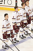 Danny Linell (BC - 10), Travis Jeke (BC - 8), Noah Hanifin (BC - 7), Steve Santini (BC - 6) - The Boston College Eagles defeated the visiting University of New Brunswick Varsity Reds 6-4 in an exhibition game on Saturday, October 4, 2014, at Kelley Rink in Conte Forum in Chestnut Hill, Massachusetts.