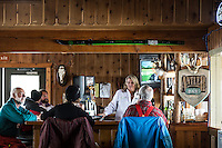 The Antler Bar in the June Meadows Chalet at the June Mountain Ski Area, June Lake, California. March 2014.