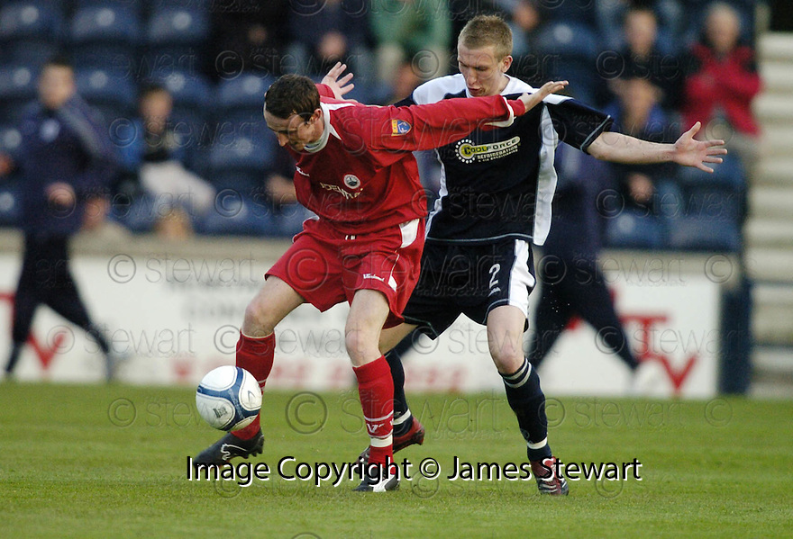 02/05/2007       Copyright Pic: James Stewart.File Name : sct_jspa09_raith_rovers_v_stirling_albion.DAVID O'BRIEN HOLDS OFF CRAIG WILSON.James Stewart Photo Agency 19 Carronlea Drive, Falkirk. FK2 8DN      Vat Reg No. 607 6932 25.Office     : +44 (0)1324 570906     .Mobile   : +44 (0)7721 416997.Fax         : +44 (0)1324 570906.E-mail  :  jim@jspa.co.uk.If you require further information then contact Jim Stewart on any of the numbers above.........