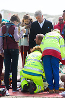 Le roi Philippe de Belgique, la reine Mathilde de Belgique, leurs enfants ; la Princesse Elisabeth, le Prince Gabriel, le Prince Emmanuel et la Princesse El&eacute;onore assistent &agrave; une d&eacute;monstration des services de sauvetage sur la plage de Middelkerke. <br /> La princesse Elisabeth a elle-m&ecirc;me particip&eacute; &agrave; la r&eacute;animation.<br /> Belgique, Middelkerke, 1er juillet 2017.<br /> King Philippe of Belgium, Queen Mathilde of Belgium and their children, Crown Princess Elisabeth, Prince Emmanuel, Prince Gabriel, and Princess Eleonore of Belgium pictured during a rescue exercice, part of a visit of Belgian royal couple at the Belgian coast, in Westende, Middelkerke.<br />  Belgium, Westende, Middelkerke, 01 July 2017.<br /> Pic :  King Philippe of Belgium &amp; Prince Gabriel of Belgium, Crown Princess Elisabeth of Belgium