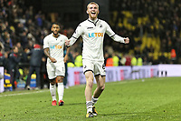 Oliver McBurnie of Swansea City celebrates his team's win during the Premier League match between Watford and Swansea City at the Vicarage Road, Watford, England, UK. Saturday 30 December 2017
