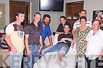 LEG WAX: At the fundraiser in aid of the Niall Mellon Township Trust at Gallys Bar & Restaurant, Tralee, on Saturday night were l-r: Dominic McCann, Vincent Flynn, John Galvin, Shane Fitzgerald, Francis Galvin (sponsor), Orla O'Shea and David Walsh. On the couch is John Lynch having his legs waxed..