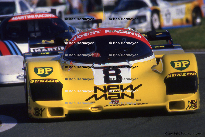 LE MANS, FRANCE - JUNE 17: The Porsche 956 104 driven by Stefan Johansson, Jean-Louis Schlesser and Maurico DeNarvaez during the 24 Hours of Le Mans on June 17, 1984 at the Circuit de la Sarthe in Le Mans, France.