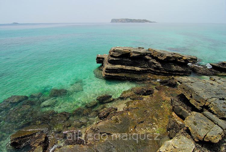 Rocks at the shore in Chapera island. Las Perlas archipelago, Panama province, Panama, Central America.