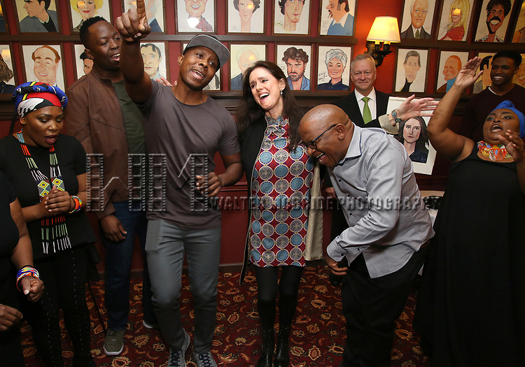 Julie Taymor with 'The Lion King' gang attend the Julie Taymor Sardi's Caricature unveiling at Sardi's Restaurant on November 3, 2017 in New York City.