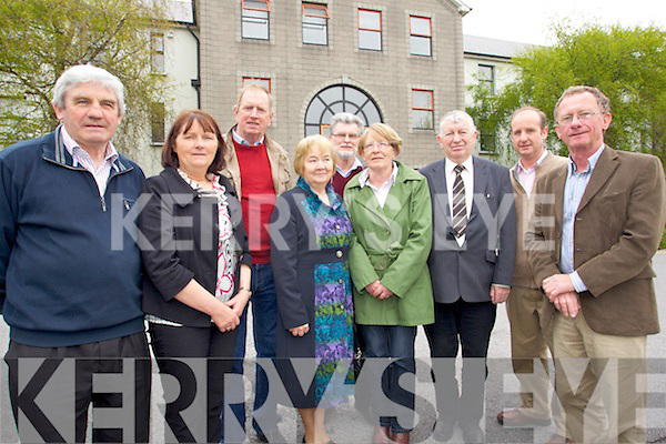 Protesting against proposals to subsume community local development organisations at Kerry County Council on Monday were from left, John O'Neill, Rathmore Community Council, Cait Ui Chonaill, Dromid, George Kelly, Community Director South Kerry Partnership, Bridie O'Neill Rathmore Community Council, Tony Darmody, Listry Community Council, Eileen Lil Fleming, IRD Duhallow, Eamon Langford, IRD Foilmore Kells Community Development, Brendan O'Keeffe, Mary Immiculate College Limerick and Pat Everett, Community Director Iveragh South Kerry Development Partnership.