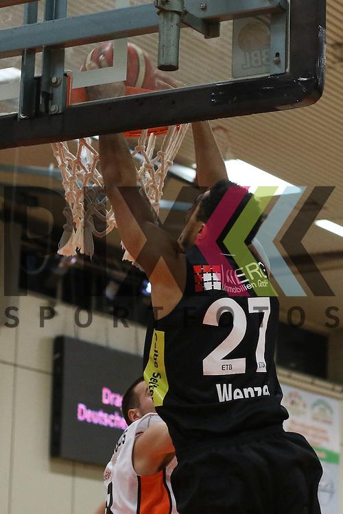 Essens Brian Wenzel (Nr.27)  stopft den Ball durch den Ring beim Spiel in der Pro A, Rhoendorf Dragons - ETB Wohnbau Baskets Essen.<br /> <br /> Foto &copy; PIX-Sportfotos *** Foto ist honorarpflichtig! *** Auf Anfrage in hoeherer Qualitaet/Aufloesung. Belegexemplar erbeten. Veroeffentlichung ausschliesslich fuer journalistisch-publizistische Zwecke. For editorial use only.