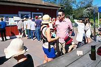 5th Annual Garlic Festival, August 2013 (hosted by The Sharing Farm) at Terra Nova Rural Park, Richmond, BC, British Columbia, Canada - Garlic Lovers line up for Garlic Ice Cream