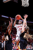 Ohio State Buckeyes guard Ameryst Alston (14) leaps to the basket for a shot during the second half of the NCAA women's basketball game between the Ohio State Buckeyes and the Appalachian State Mountaineers at Value City Arena in Columbus, Ohio, on Friday, Dec. 20, 2013. The Buckeyes overcame a 21-18 deficit at the half to defeat the Mountaineers 52-38.  (Columbus Dispatch/Sam Greene)