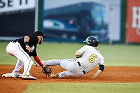Montgomery Biscuit Brandon Lowe (6) is tagged out by Chattanooga Lookouts second baseman Alex Perez (2) as he slides into second base in an attempt to steal on May 26, 2018 at AT&T Field in Chattanooga, Tennessee. (Andy Mitchell/Four Seam Images)