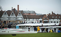 Henley. United Kingdom.  Crews on the Berkshire side boating for the start of the Henley Fours &amp; Eights Henley Head,  Henley Reach, River Thames. H-O-T, England.<br /> <br /> Saturday  18/02/2017<br /> <br /> [Mandatory Credit. Peter SPURRIER/Intersport Images]