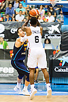 Spain's basketball player Victor Claver and Angola's basketball player Carlos Morais during the first match of the preparation for the Rio Olympic Game at Coliseum Burgos. July 12, 2016. (ALTERPHOTOS/BorjaB.Hojas)