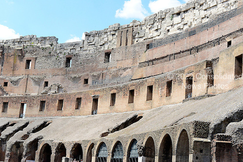 Interior of the Colosseum, also known as the Flavian Amphitheatre, in Rome, Italy on Friday, May 25, 2012.  This photo shows the bricks and travertine used in the construction of the building..Credit: Ron Sachs / CNP