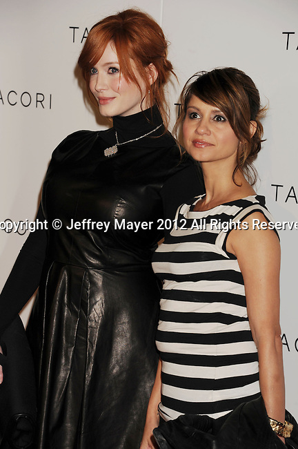 "WEST HOLLYWOOD, CA - OCTOBER 09: Christina Hendricks and Tamara Mellow arrive at the Tacori Productions New ""City Lights"" Fall/Winter 2012 Collection Launch Party at The Lot Studio on October 9, 2012 in West Hollywood, California."