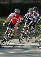 Penn State's Matt Mackenzie, D'Youville College's Jacob Haines  and Penn State's Stephen Jaeger, right, during the Men's D Criterium race at the Nittany Cycling Classic hosted by Penn State Cycling in State College, Pa., on April 20, 2014. Photo/©2014 Craig Houtz