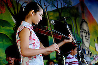 Performance of the 'Music for Hope' project bands, Los Reyas and Los Sin Casa at the 'Feria e intercambio de logros de campesinos y campesinas' in the village of Amando Lopez, El Salvador.