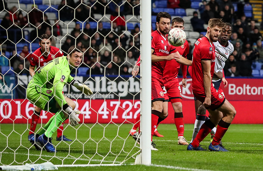 Bolton Wanderers' Clayton Donaldson scoring his side's first goal <br /> <br /> Photographer Andrew Kearns/CameraSport<br /> <br /> Emirates FA Cup Third Round - Bolton Wanderers v Walsall - Saturday 5th January 2019 - University of Bolton Stadium - Bolton<br />  <br /> World Copyright © 2019 CameraSport. All rights reserved. 43 Linden Ave. Countesthorpe. Leicester. England. LE8 5PG - Tel: +44 (0) 116 277 4147 - admin@camerasport.com - www.camerasport.com