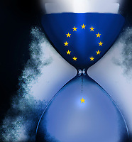 Star falling from European Union flag inside of hourglass