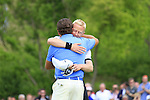 Graeme McDowell hugs Simon Dyson after shooting a 63 to win with 15 under during the Final Day of The Celtic Manor Wales Open, 6th June 2010 (Photo by Eoin Clarke/GOLFFILE).