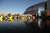 Jan 10, 2011; Glendale, AZ, USA; Oregon Ducks wait in line before the 2011 BCS National Championship game against the Auburn Tigers at University of Phoenix Stadium.  Mandatory Credit: Mark J. Rebilas-