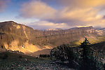 Glorious sunrise on the Chinese Wall in the Bob Marshall Wilderness in Montana