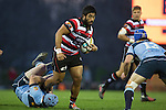 Cardiff Vaega charges in to Jordan Hyland.<br /> The game of Three Halves, a pre-season warm-up game between the Counties Manukau Steelers, Northland and the All Blacks, played at ECOLight Stadium, Pukekohe, on Friday August 12th 2016. Photo by Richard Spranger.