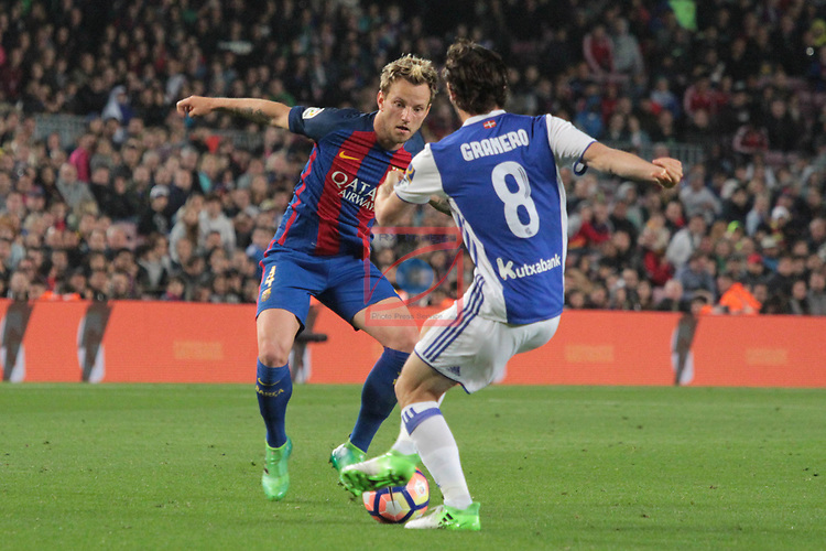 League Santander 2016/2017. Game: 32.<br /> FC Barcelona vs Real Sociedad: 3-2.<br /> Ivan Rakitic vs Granero.