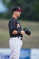 Kannapolis Intimidators third baseman John Ziznewski (5) on defense against the West Virginia Power at Intimidators Stadium on July 3, 2015 in Kannapolis, North Carolina.  The Intimidators defeated the Power 3-0 in a game called in the bottom of the 7th inning due to rain.  (Brian Westerholt/Four Seam Images)