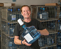 BNPS.co.uk (01202 558833)<br /> Pic: PhilYeomans/BNPS<br />  <br /> Water Find...Richard's 11 ltr reusable dispensers reduce the waste from plastic bottle's.<br /> <br /> Enviromentalist Richard Stevens is hoping to make a fortune after tapping into a natural spring he has rediscovered on his land.<br /> <br /> Although it sounds more like the hilarious story of the Peckham Spring 'found' by Del Boy in Only Fools & Horses, Richard's inspiration for turning his bottled mineral water into a business has been David Attenborough's Blue Planet.<br /> <br /> The 63-year-old wants to stop people disposing of tens of thousands of plastic bottles of mineral water a year by supplying them with large dispensers they put in their own homes.<br /> <br /> The aim is for customers to use the 11.5 litre tanks to refill and reuse their own bottles with the Yawl Spring mineral water.