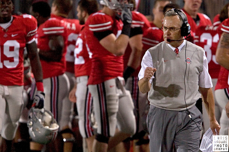 12 September 2009:  Football -- Ohio State head coach Jim Tressel during their game against USC at Ohio Stadium in Columbus.  USC won 18-15.  Photo by Christopher McGuire.