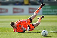 Philadelphia Union goalkeeper Zac MacMath (18) watches a parried shot roll out of bounds during the first half against the Colorado Rapids during a Major League Soccer (MLS) match at PPL Park in Chester, PA, on March 18, 2012.