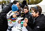 Peter Sagan (SVK) Bora-Hansgrohe signs autographs for fans at the team presentation before the start of the 2018 Shanghai Criterium, Shanghai, China. 17th November 2018.<br /> Picture: ASO/Alex Broadway | Cyclefile<br /> <br /> <br /> All photos usage must carry mandatory copyright credit (&copy; Cyclefile | ASO/Alex Broadway)