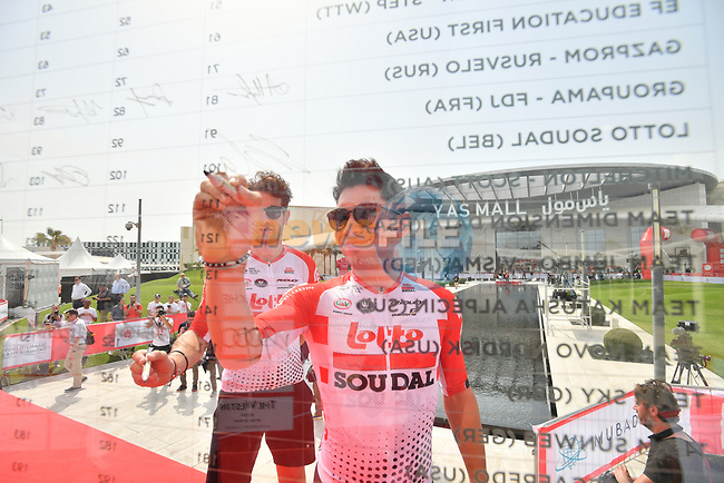Caleb Ewan (AUS) Lotto-Soudal signs on before the start of Stage 2 of the 2019 UAE Tour, running 184km form Yas Island Yas Mall to Abu Dhabi Breakwater Big Flag, Abu Dhabi, United Arab Emirates. 25th February 2019.<br /> Picture: LaPresse/Massimo Paolone | Cyclefile<br /> <br /> <br /> All photos usage must carry mandatory copyright credit (© Cyclefile | LaPresse/Massimo Paolone)