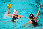 LOS ANGELES, CA - MAY 13: Kat Klass #10 of Stanford University attempts a shot by Annika Jensen #2 of the University of Southern California during the Division I Women's Water Polo Championship held at the Uytengsu Aquatics Center on the USC campus on May 13, 2018 in Los Angeles, California. USC defeated Stanford 5-4. (Photo by Tim Nwachukwu/NCAA Photos via Getty Images)