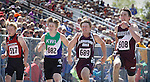 RAPID CITY, SD - MAY 30: Brennan Schmidt #608 of Freeman Public was a step ahead of the field toward the finish of boys class B 100 meter dash during the 2015 SDHSAA State Track & Field Meet Saturday at O'Harra Stadium in Rapid City, S.D. (Photo by Dick Carlson/Inertia)